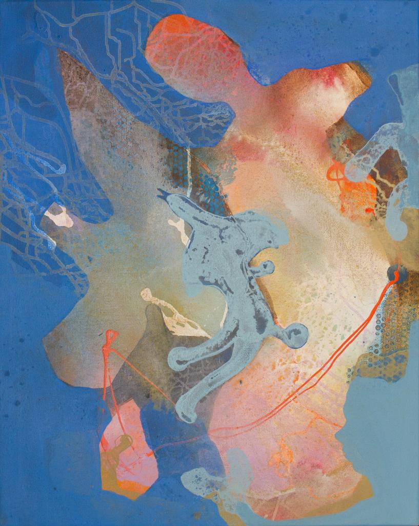 «En blomsterfugl møter en langveisfra» Akryl på lerret Høyde 100 x 80 bredde